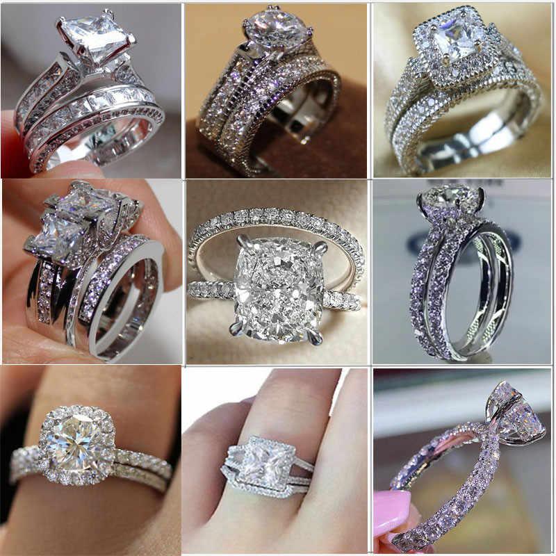 בציר טבעת פייב הגדרת 5A זירקון Cz סטרלינג מלא אירוסין נישואים טבעות סט לנשים כלה Bijoux
