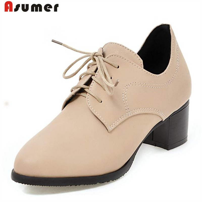 ASUMER 2017 Hot sale shoes women solid pu lace-up oxford shoes pumps  fashion shoes round toe med heels work