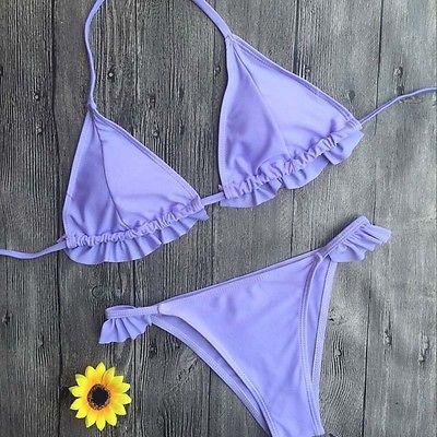 GLANE 2017 Women Bikini Set Sexy Purple Swimwear Push Up Bikini Swimming  Swimsuit Bathing Suit Women Beachwear