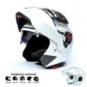 Image 4 - 오토바이 블루투스 헬멧 듀얼 바이저 모듈러 플립 bt 헬멧 레이싱 모토 크로스 헬멧 dot ece 스티커 M XXL 오토바이 헬멧