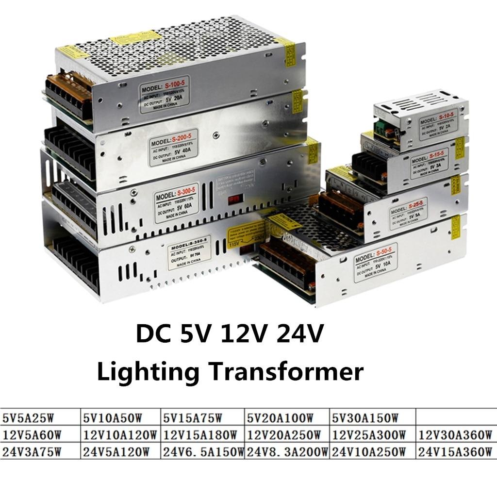 DC 5 V 12 V 24 V 3A 5A 10A 15A 20A 25A 30A Controlador LED transformadores para iluminación de 5 12 24 V voltios de potencia de suministro de adaptador de tira de LED de cinta lámpara