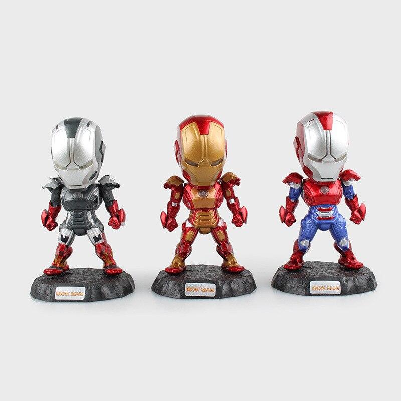 ФОТО 6 Pcs/Set Iron Man Action Figure Attack Light Action Figures LED Flash Light PVC brinquedos Q Version Collection Figures Toys