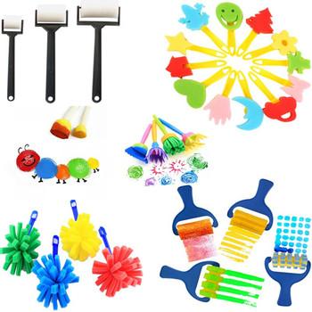 Sztuka DIY zestawy narzędzi gąbka szczotka znaczek DIY dzieci malowanie graffiti gąbka szczotka znaczek zestawy narzędzi tanie i dobre opinie Z tworzywa sztucznego sea soft Brush brush 4pcs Sponge brush 2-6 years