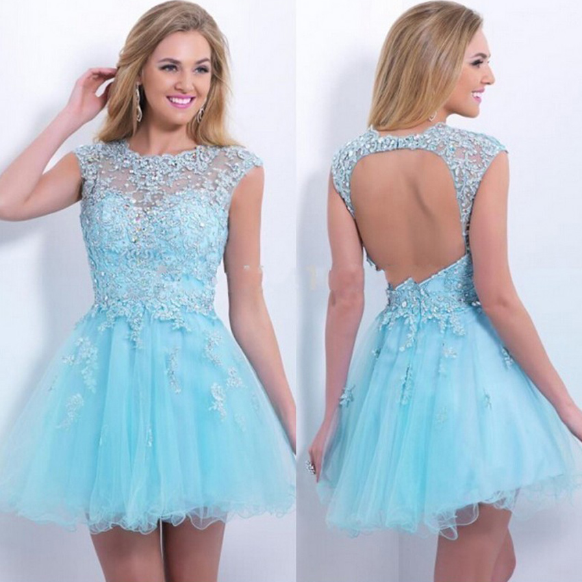 Popular Light Blue Lace Cocktail Dress-Buy Cheap Light Blue Lace ...