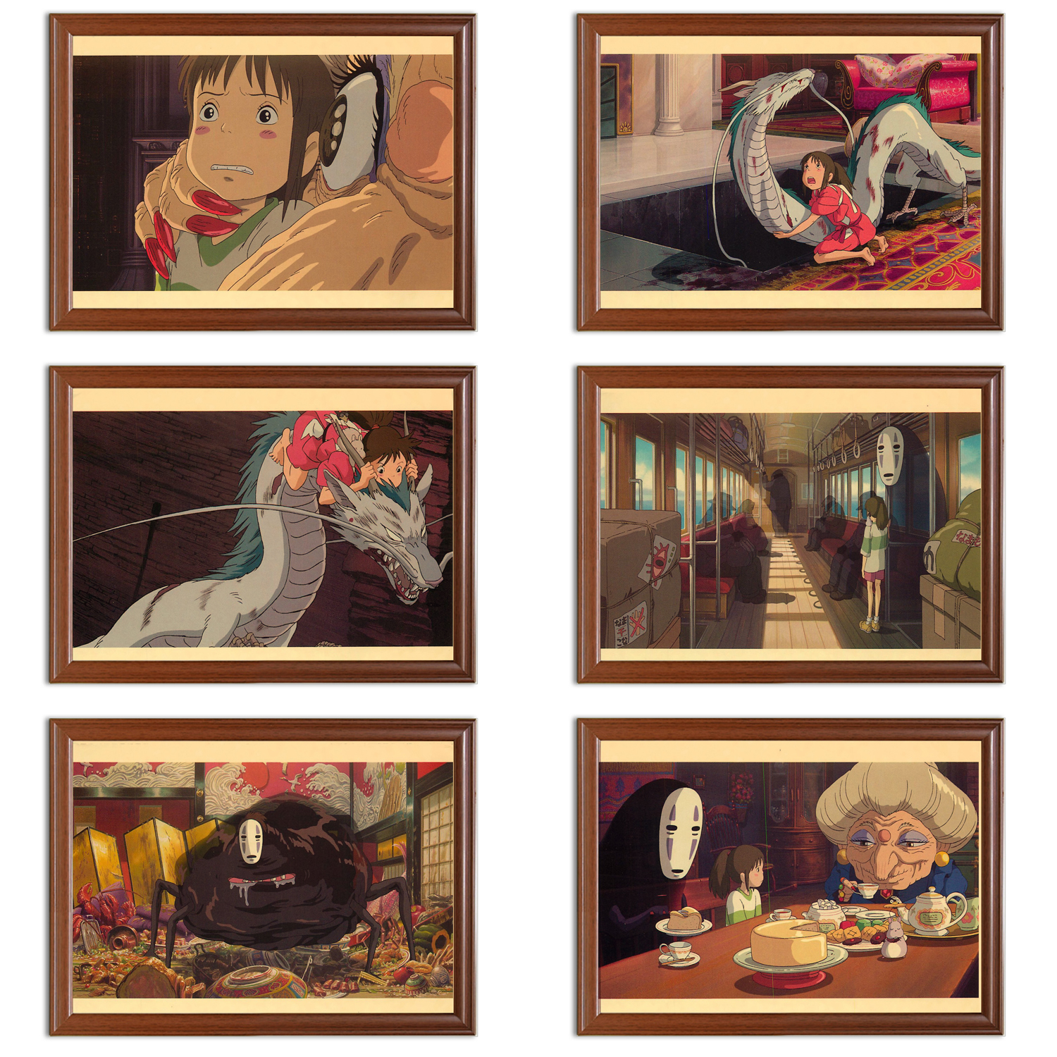 Vintage Hayao Miyazaki Posters Spirited Away Kraft Posters Classic Canvas Paintings Wall Stickers Home Decor Gift image