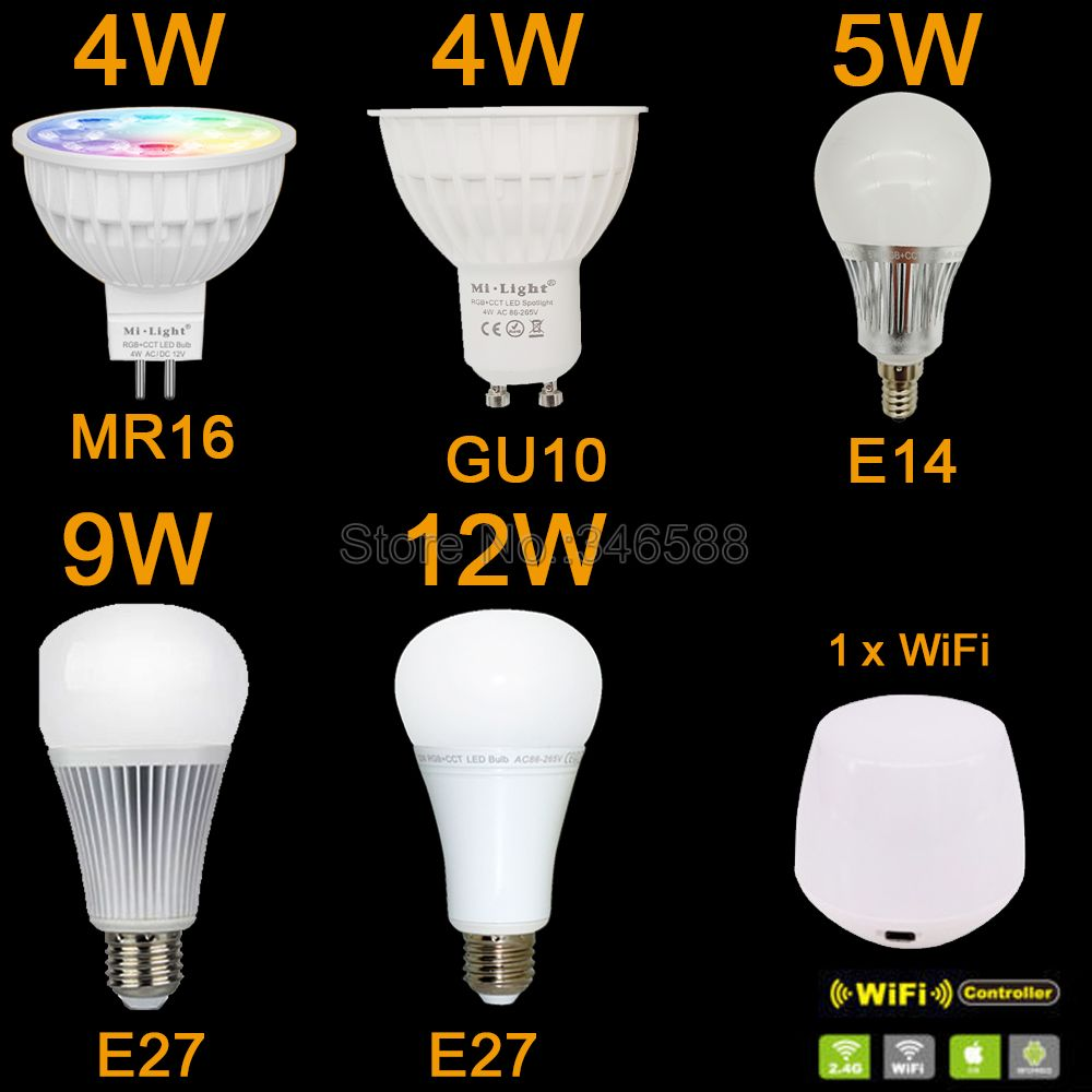 Mi.Light Dimmable Wireless RGB+CCT LED Bulb 4W MR16 / GU10 5W E14 6W / 8W 12W E27 AC110V 220V 2700-6500K WiFi Compatible