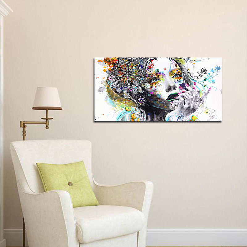 Psychedelic Girl Modern Wall Sticker With Flowers Painting Prints On Canvas  Decoration For Living Room Wall Part 80