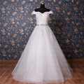 Free Shipping Real Photo Off-Shoulder Lace Wedding Dresses Beaded Sash Vestidos De Novia Sleeveless Wedding Gown Custom Made