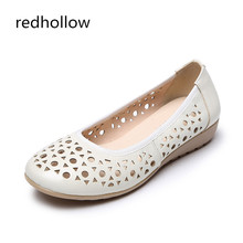 hot deal buy spring summer women flats shoes genuine leather shoes woman cutout loafers slip on ballet flats ballerines flats nurse shoes