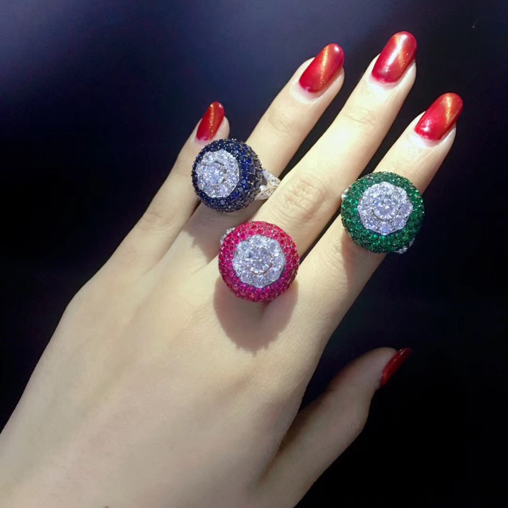 cocktail ring 925 sterling silver with cubic zircon ring blue green rose red color fashion women