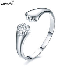 Blaike Cute Cat Paw Tail Openings Ring For Women 925 Sterling Silver/Gold Filled Animal Claw Design Ring Fashion Jewelry Gift(China)