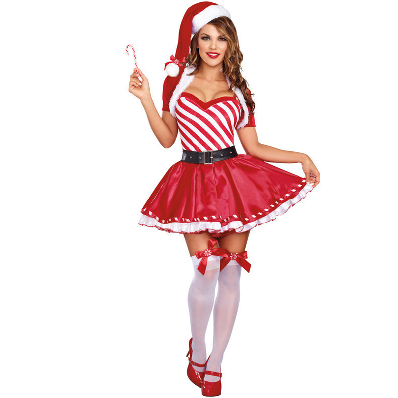 VASHEJIANG Dreamgirl Women's Candy Cane Cutie Costume Female Christmas Costumes Dress Sexy Santa's Costumes
