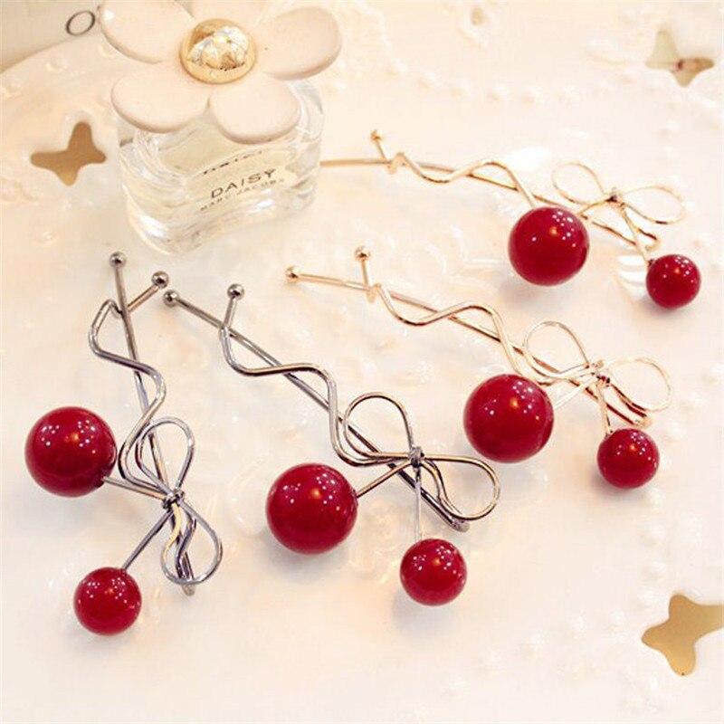 Fashion 1Pc Girl Hot Twist Hair Clip Red Cherry Shaped Bowknot Hairpin Barrette   Headwear   Hair Accessories