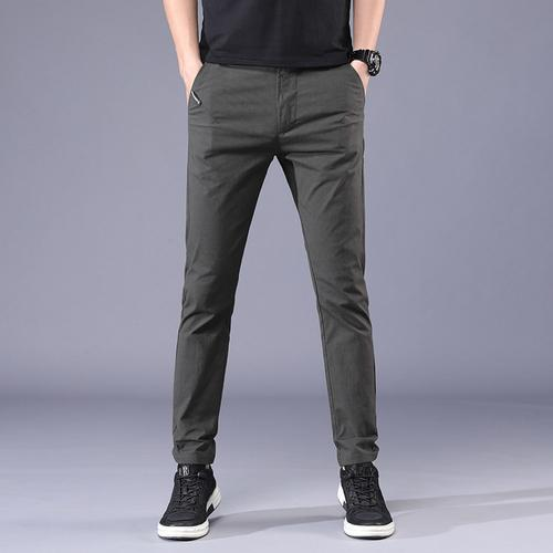 Summer Thin Suit Pants Men's New Business Cotton Slim Trousers Men's Gray