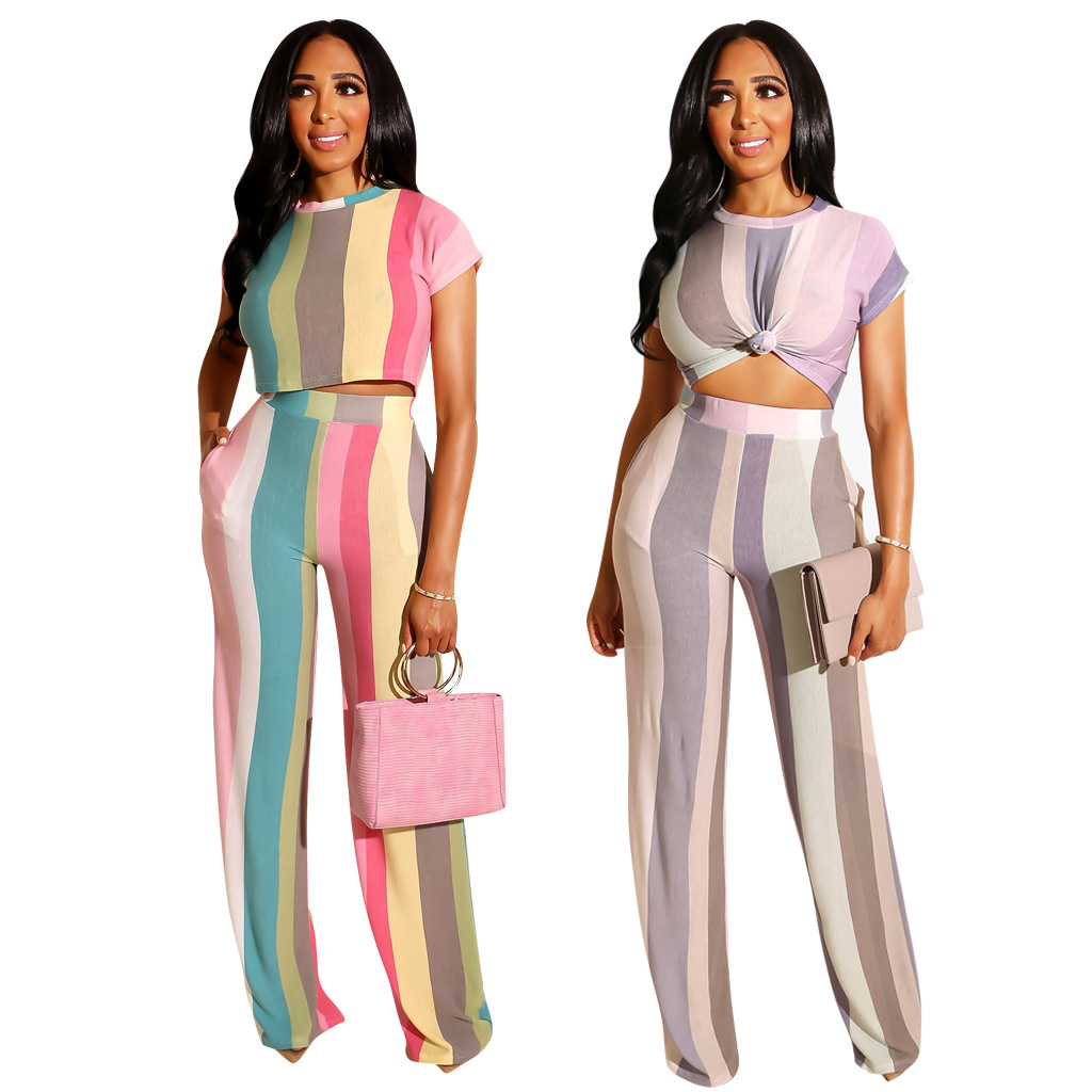 Purple Striped 2 Piece Outfits Co ord Matching Set for Women Fashion Tracksuit 2019 Summer Top and Pant Suits Festival Clothing in Women 39 s Sets from Women 39 s Clothing