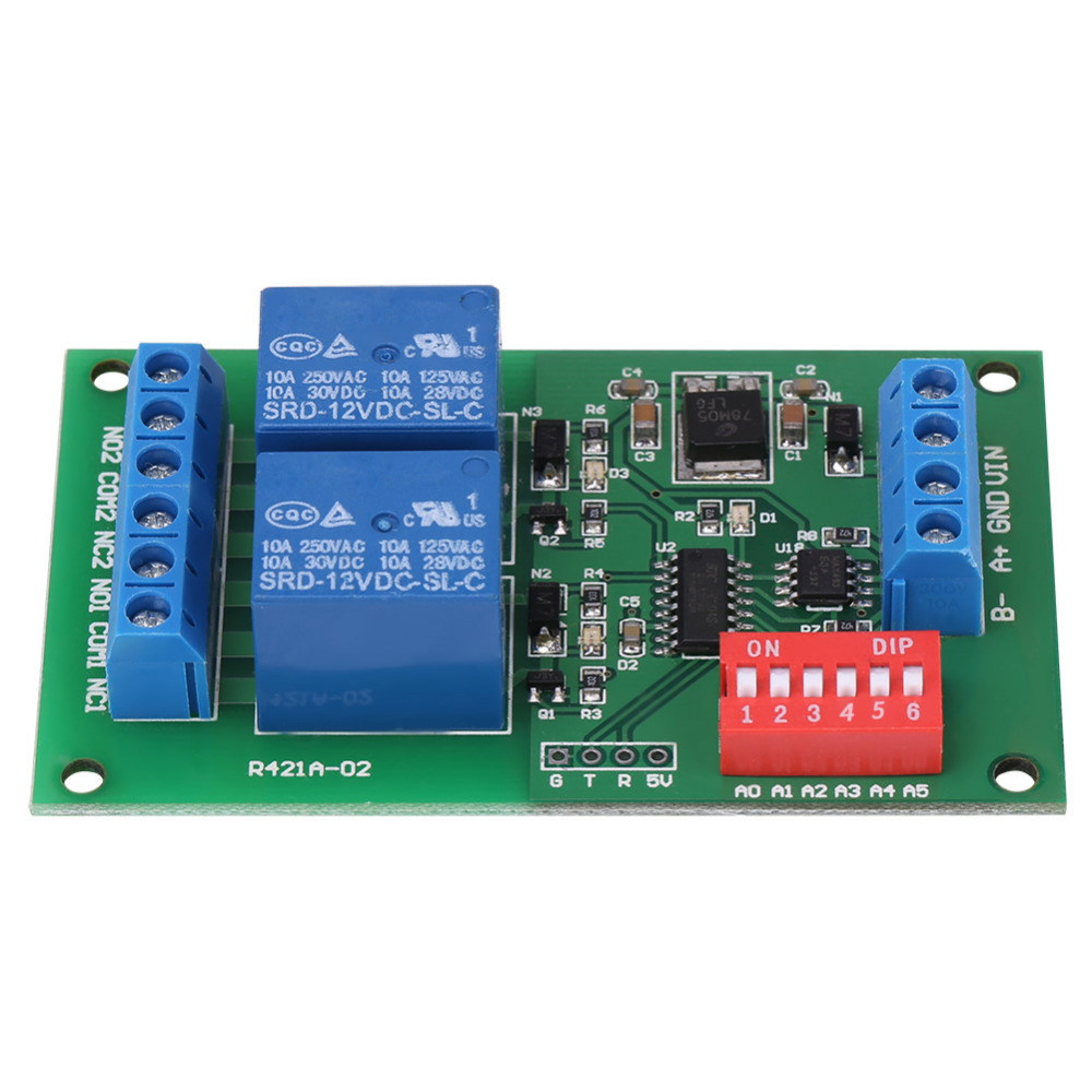 DC 12V 2 CH RS485 Relay RTU & AT Command 2 CH RS485 Relay PLC Controller UART Serial Port Switch High Quality martin dmx interface 128 ch rs485