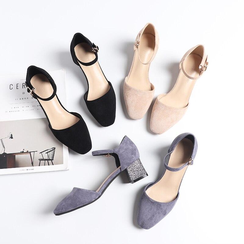 靴の女性 2019 秋春正方形のハイヒールの靴女性女性フロックアンクルストラップ女性サンダルカジュアルドレス靴パンプス  グループ上の 靴 からの レディースパンプス の中 1