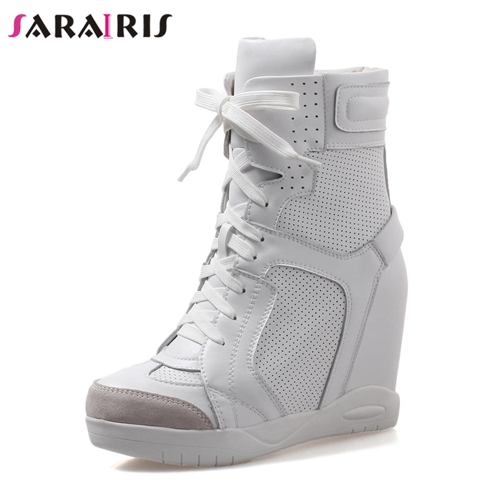 SARAIRIS Brand Fretwork Genuine Leather Ankle Boots Women Autumn Winter 2019 Height Increasing Platform Shoes Woman