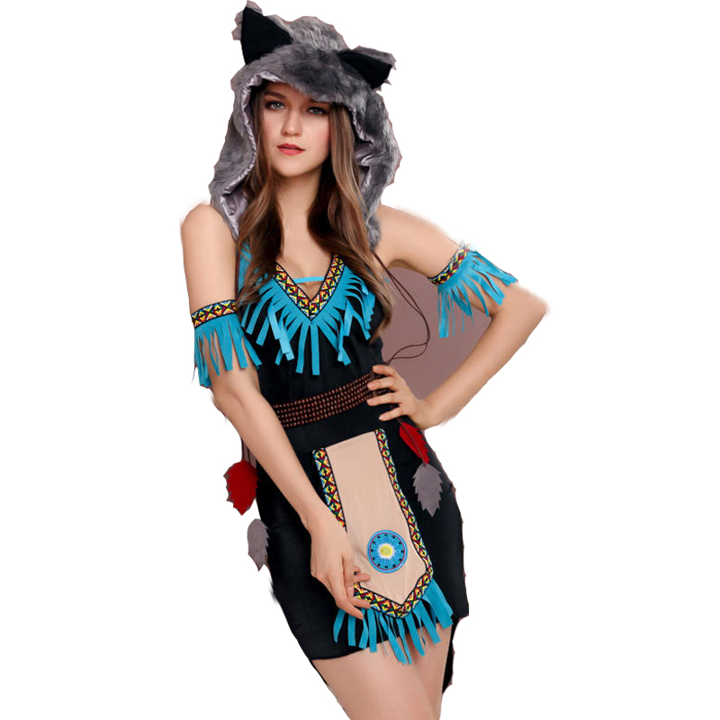 Free shipping Halloween timber wolf Cosplay game Costume ball role play animal costume dress with wolf cap in Holidays Costumes from Novelty Special Use