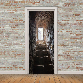3D Stereoscopic Stone Staircase Door Stickers Mural Wallpaper Home Decor European Creative DIY Self-adhesive PVC Mural Sticker 3d door sticker window balcony coconut tree sea view wall mural wallpaper stickers self adhesive removable home door wall decals
