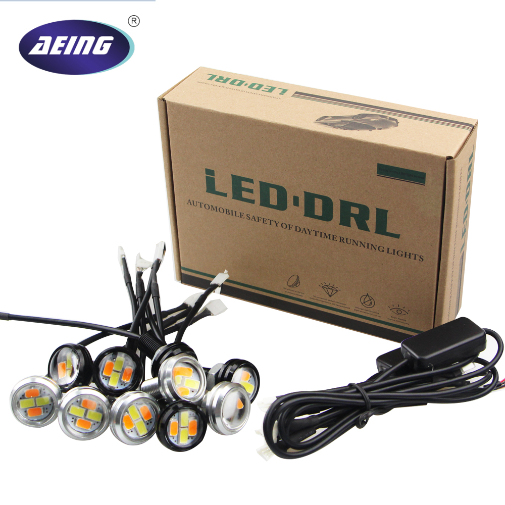 AEING 10pcs/set Car styling Xenon White LED DRL Eagle Eye Daytime Running lights Warning Fog lights with Amber turning signal car styling 10pcs high brightness drl 23mm eagle eye daytime running light waterproof parking lamp led car work lights source cc