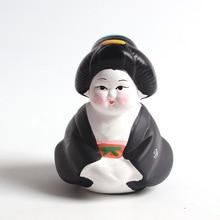 Creative ceramics teapet japonés geisha artesanía adornos muebles para el hogar boutique de cerámica bandeja de té de cerámica té mascota decoración