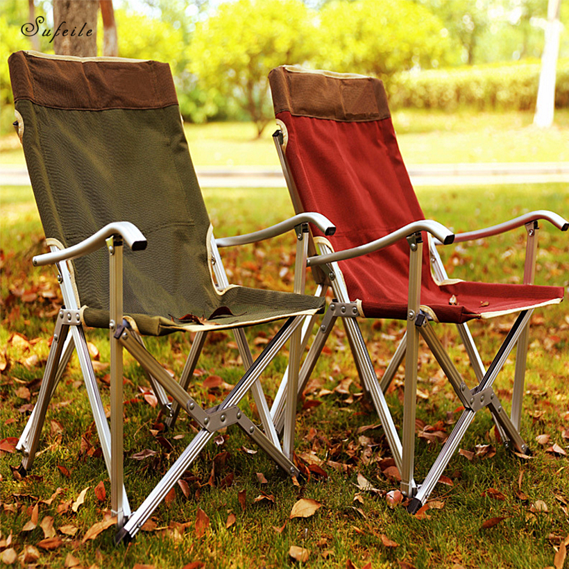 цена на SUFEILE Folding outdoor fishing chair Portable aluminum alloy beach leisure folding chair Camping Self-driving Barbecue Chair D5