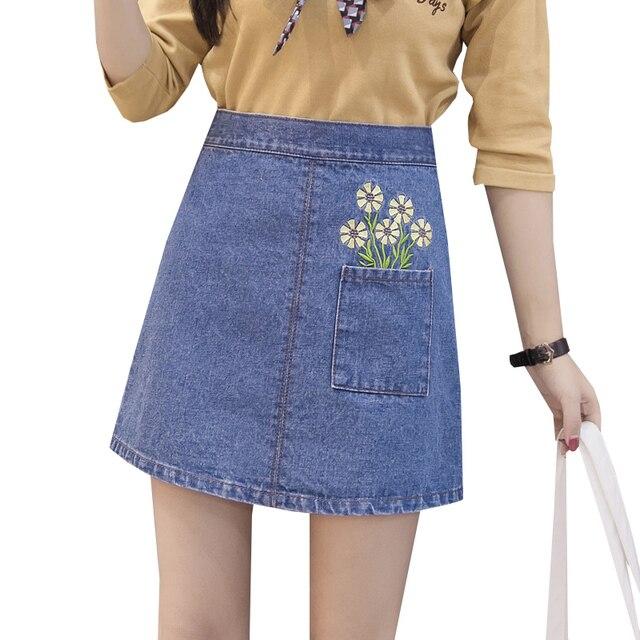 0d82221b4d455 2017 New Embroidery Denim Skirt Spring Summer Women Slim High Waist Skirts  School Vintage Bodycon Jeans Mini Skirt Saias SF203