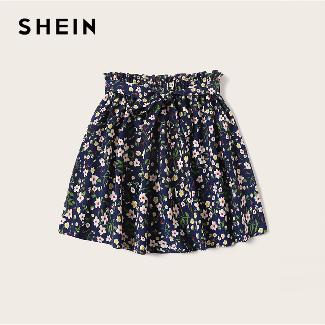 SHEIN Plus Size Navy Ditsy Floral Print Paperbag Waist Belted Skirt 2019 Women Summer Boho A Line Flared Pleated Mini Skirts 1