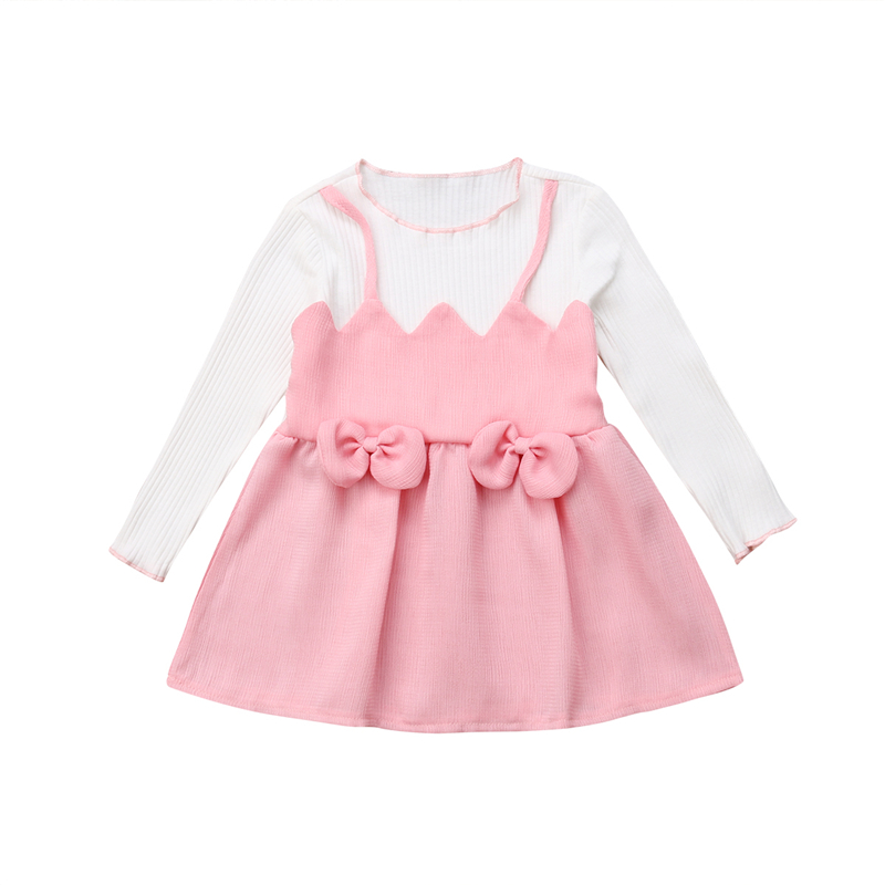 2018 Cute Toddler Girls Dress Kids Girls Dress Pink Bow Knot O Neck Long Sleeve Mini Dresses Princess Party Dresses Baby Clothes