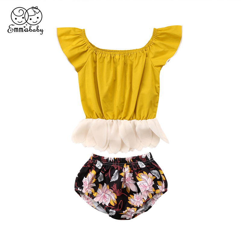 Newborn Baby Girls Clothes Set 2018 Summer Kid Girl Fly-sleeve Patchwork Tops T-shirt+Flower Shorts Pants Baby Girl Clothing Set
