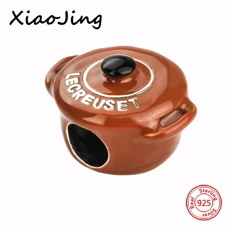 New arrival 925 Sterling Silver antique charms diy brown Casserole pot Beads Fit original Pandora Bracelets Jewelry making Gifts