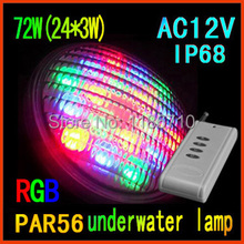 Factory direct sale 12V LED Swimming pool light underwater lights PAR56 72W(24*3W)RGB,Contains the remote control free shipping