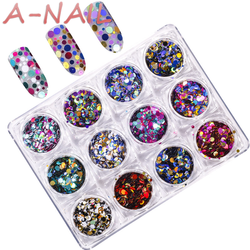 12jars/set Laser color Nail Art Glitter ROUND Shapes Confetti Sequins Acrylic Tips UV Gel BL Style Sale Shiny Ultrathin Sequins artlalic 48 bottles nail art rhinestones beads sequins glitter tips decoration tool gel nail stickers mixed design case set