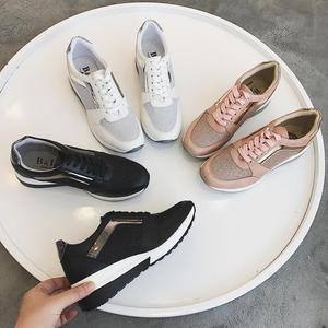 Image 2 - Spring New Sneakers Women Platform Casual Sports Shoes Ladies Thick Soled Fashion Shoes Lace Bling Factory Direct Sale
