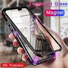 Для iPhone 8 plus Дело Магнитный Адсорбция металла флип мобильный чехол для iPhone XS MAX xr защитное стекло закаленное случае