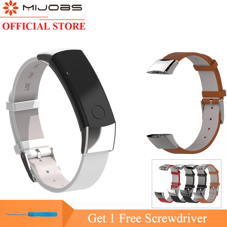 Mijobs Genuine Leather Strap For Honor Band 3 Bracelet Soft Replace Huawei Smart Wristband
