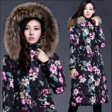 Winter Long Jacket Women 2016 New Flower Print Fur Collar Hooded Down Cotton Padded Jackets Thick Winter Coat Women Parkas WT217