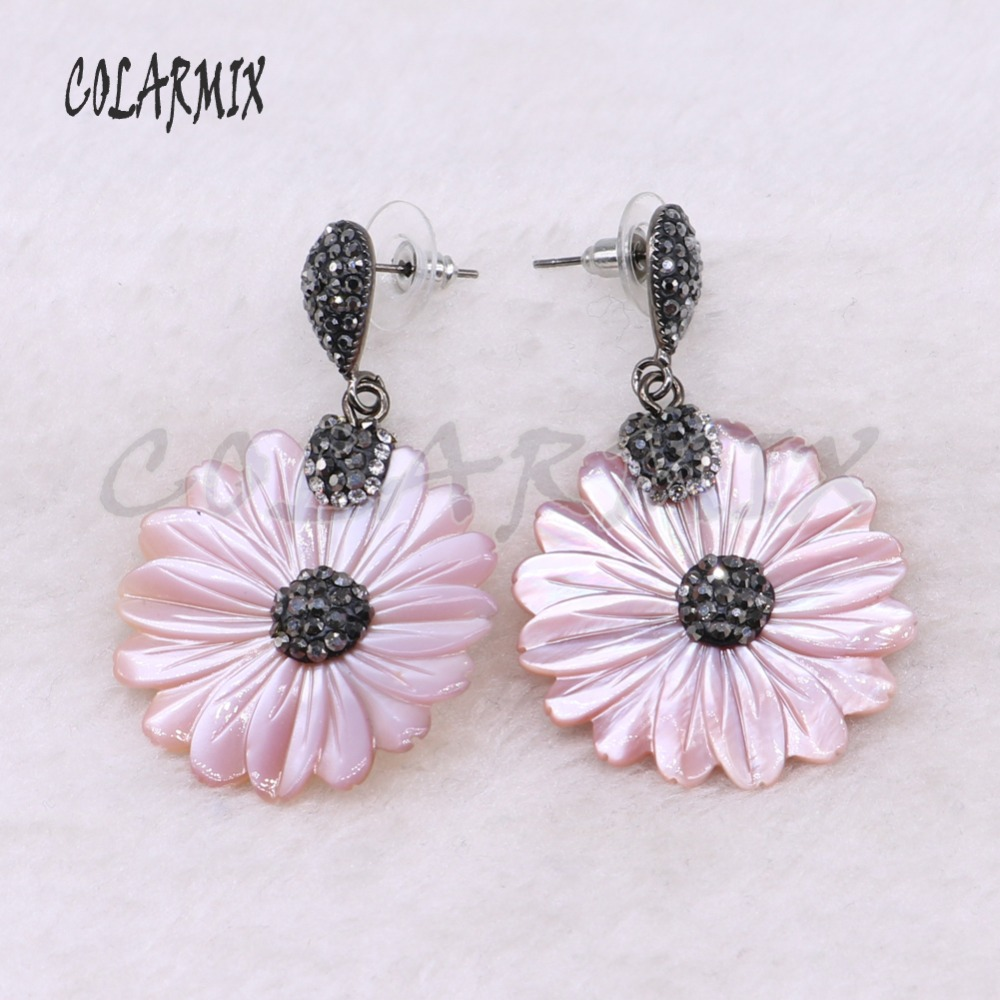 Wholesale Pink Flower shell shape earrings pave rhinestone earrings Crystal stone  earrings jewelry gift for lady 3501 52818ceef16f