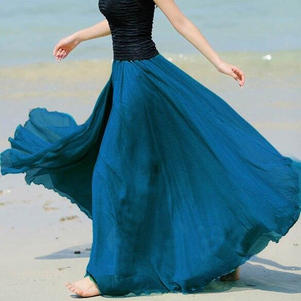 Fanala verano faldas para mujer 2017 de estilo bohemio maxi falda plisada gasa de la playa de las mujeres falda larga de múltiples colores increíble
