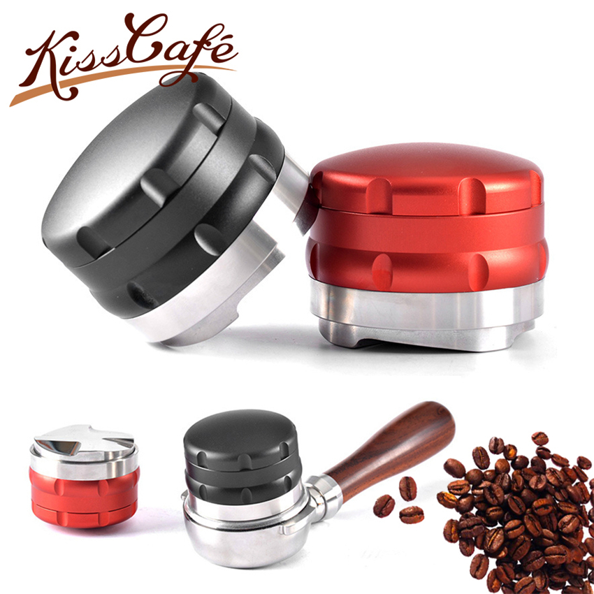 53mm/58.35mm Adjustable 304 Stainless Steel Coffee Tamper Four Angled Slopes Base Adjustable Distribution Espresso Tools Barista