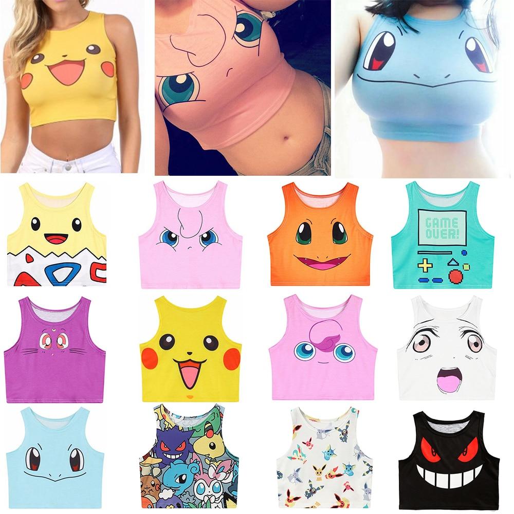 For Harajuku Sexy Girls Cosplay Costume Pokemon Go Pocket Monster Sailor Moon Crystal Crop Tops Vest Tank Tops Shirt