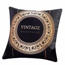 European Black Gold Vintage Luxury Cushion Cover Home Decorative Square Throw Pillows Pillowcase Cushions Decor