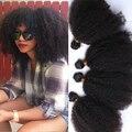 8A Pelo Virginal Rizado rizado Mongol Afro Rizado Pelo rizado 3 Paquetes de 4B 4C Rizado Tejer Extensiones de Cabello Humano Negro mujeres