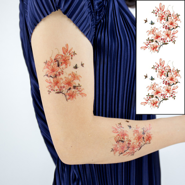 666a88ed3 1pc new Double Peach Butterfly Rose flowers temporary tattoos stickers 28  styles arm shoulder tattoo set Under breast waterproof