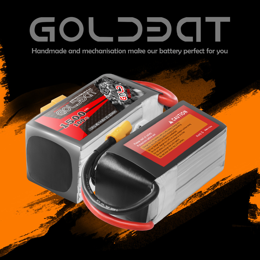 Image 5 - 2units GOLDBAT 1500mAh 4S Battery lipo for Drones 14.8V Lipo Battery 4s for fpv 100C lipo with XT60 Plug for Airplane FPV Racing-in Parts & Accessories from Toys & Hobbies
