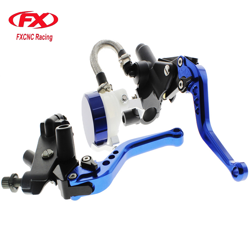 FX CNC 22mm Universal Adjustable Hydraulic Brake Cable Clutch Levers Master Cylinder Reservoir Set For Honda Grom CMX250 NSR125