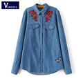 Women sweet floral butterfly embroidery denim shirts 2017 long sleeve pockets blouse turn down collar fashion tops blusas