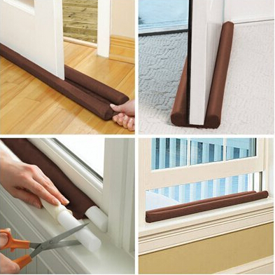 Hot Sale Brown Double Door Draft Stopper Dual Draught Excluder Air Insulator Windows Dodger Guard Energy Saving