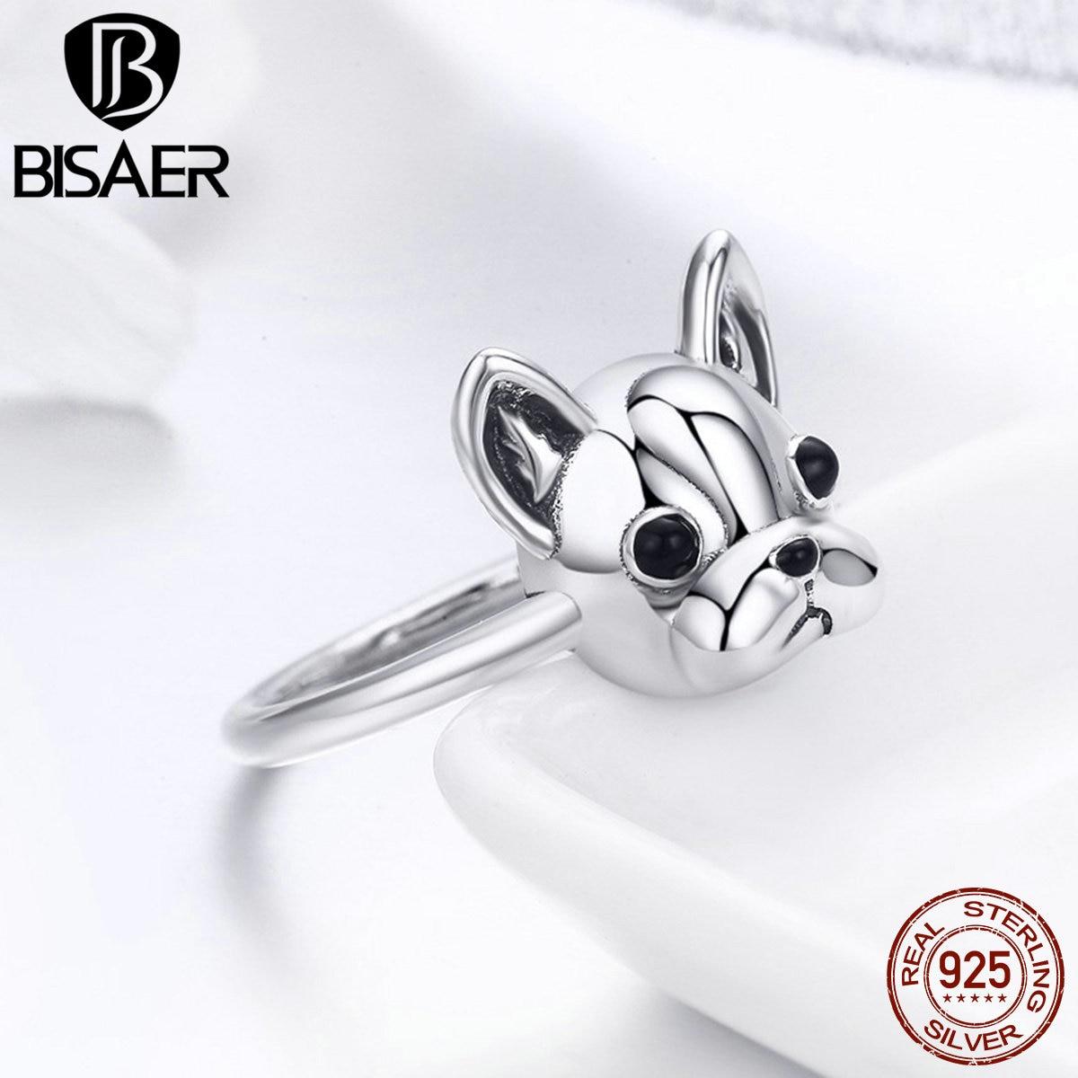100% 925 Sterling Silber Tier Hund Liebhaber Glauben Partner Französisch Bulldog Finger Ringe Für Frauen Mädchen 925 Silber Ring Schmuck Geschenk
